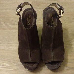 Michael Kors Brown Suede Peep Toe Ankle Booties
